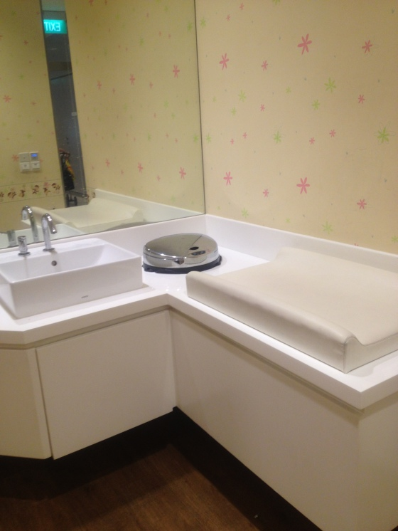 Changing station and sink area