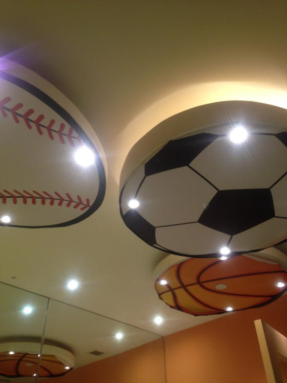 Overhead deco - Sports themed just like the mall.
